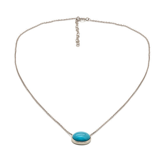 Turquoise Necklace Pendant White Gold
