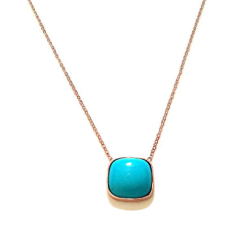 Turquoise Pendant Rose Gold Cushion Cut