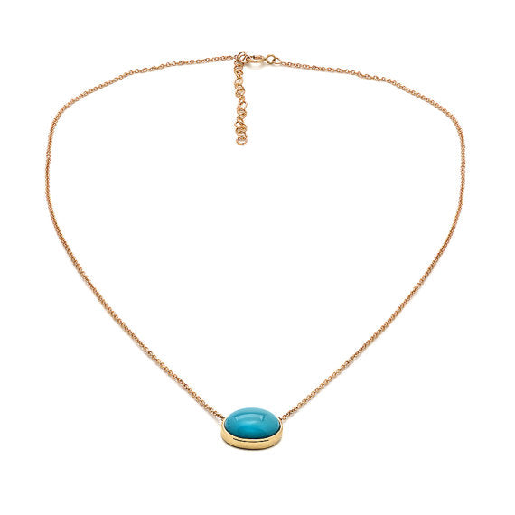 Turquoise Pendant Necklace Yellow Gold