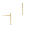 Line Bar Stud Earrings 14K Yellow Gold