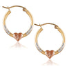 14K Gold Tri Color Heart Hoop Earrings