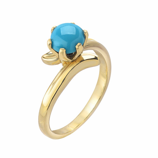 Turquoise Ring Yellow Gold