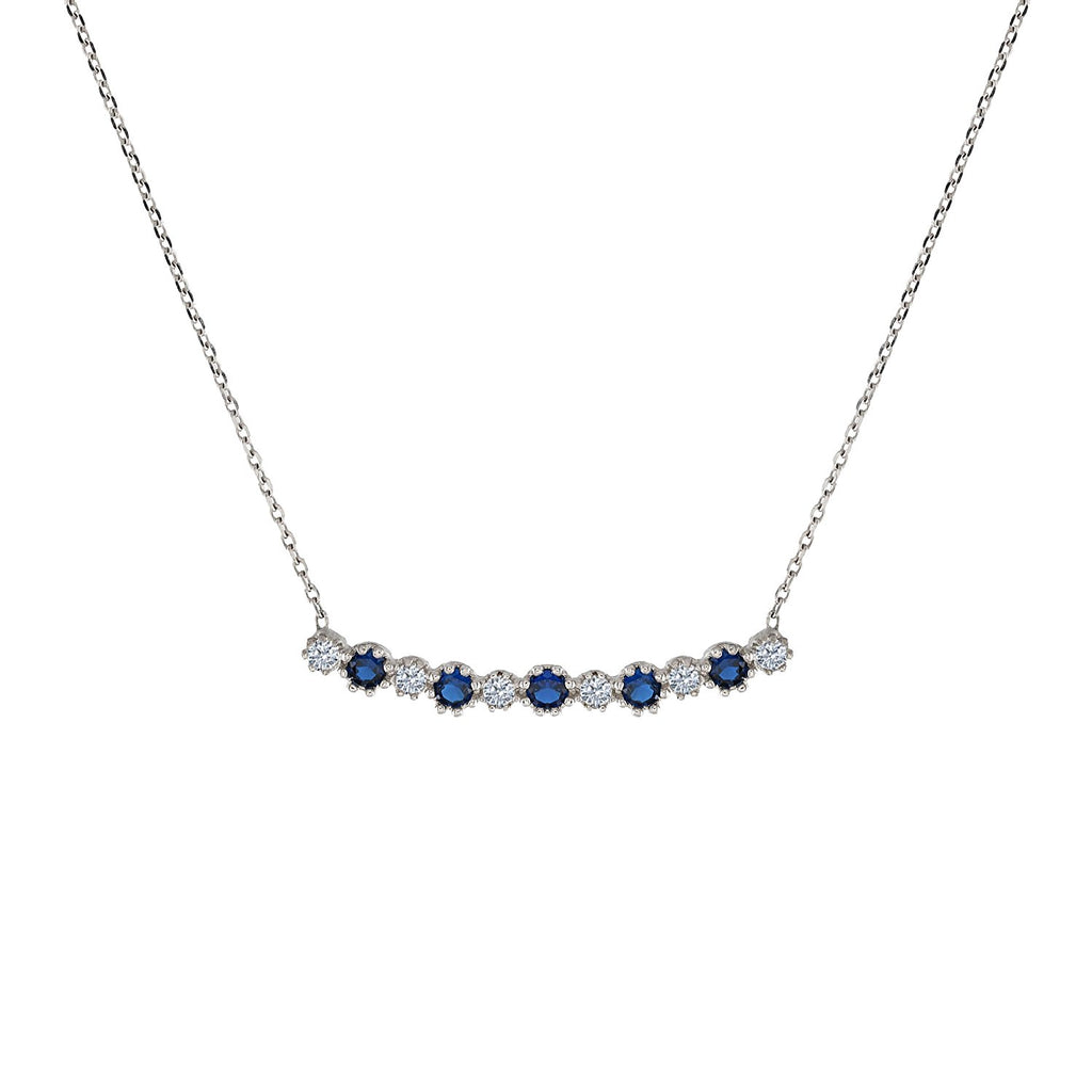 Gold Necklace Sapphire and Diamond Pendant