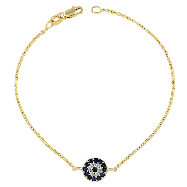 Sapphire and White Diamond Bracelet Charm Link Gold