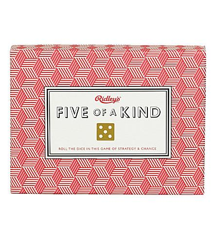 Juego Five of  kind de Ridley´s