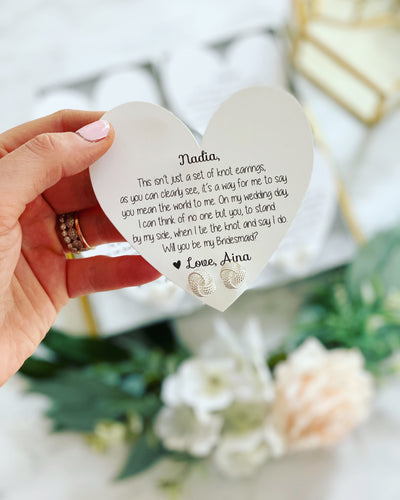 Knot Earrings & Knot Poem Heart Card