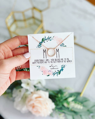 MOM necklace floral wreath card!