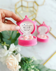 Will you be my Flower Girl? Clip on earrings & Crown box!