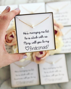 Bridal Party Pearl Necklace! Thank You Gift!