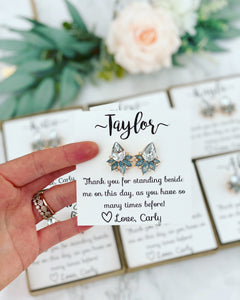 Opal Light Blue Gray Crystal studs thank you gift!