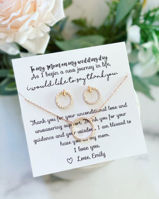 CZ gift set circle earrings & matching circle pendant necklace!