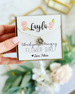 Flower Girl Necklace with watercolor flowers!