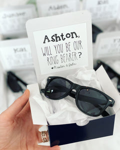 Ring Bearer box with Sunglasses!