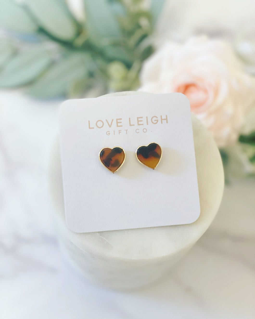 FREE SHIPPING Tortoise Shell heart stud earrings!
