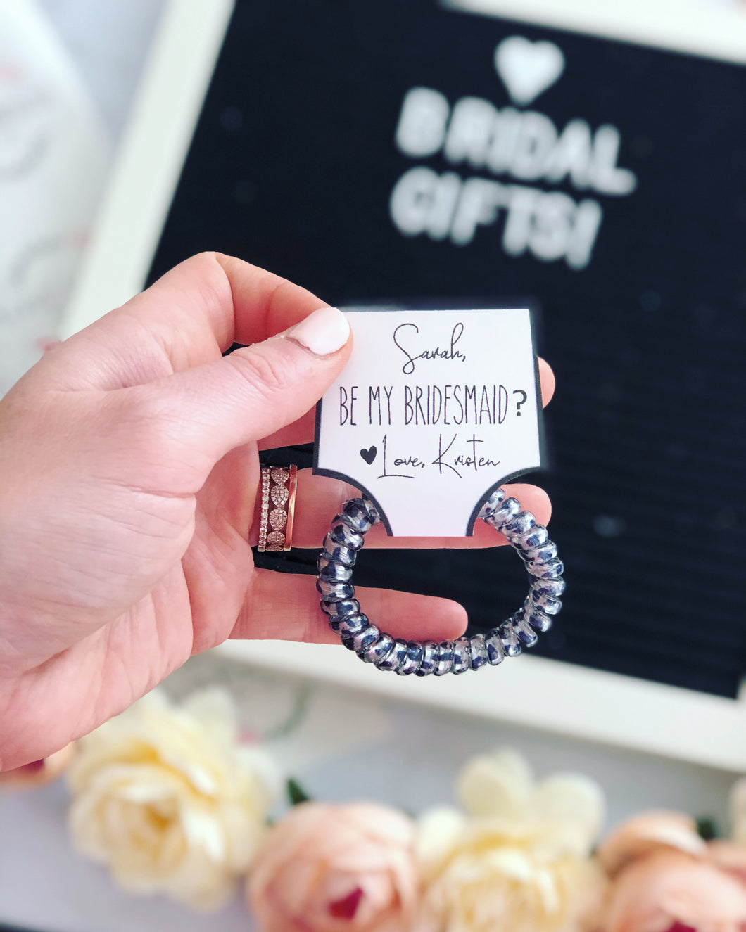 Be my Bridesmaid? Hair tie gift!