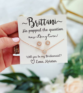 He Popped the Question! Cubic Zircon studs & matching necklace Bridal Party gift!