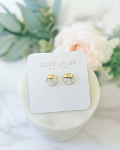 White & Gold Marble Earrings!