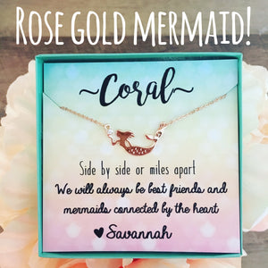 Best Friend Rose Gold Mermaid Necklace