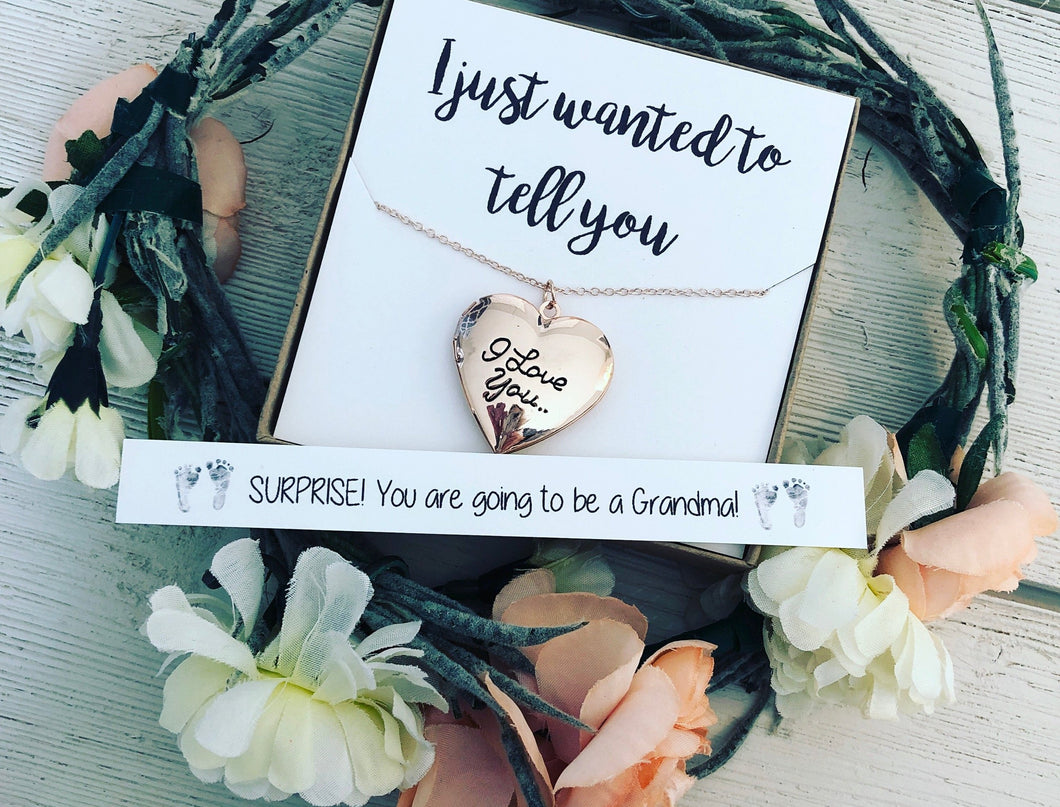 Surprise! I'm Pregnant! Locket with message!