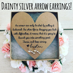Dainty silver arrow earrings!