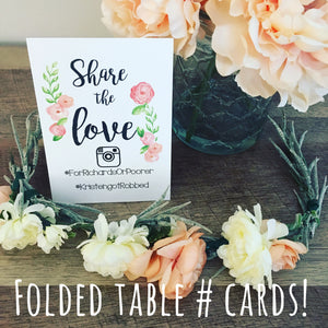 Hashtag Wedding Table Tent Cards