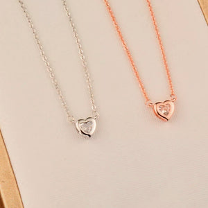 Sister Gift! Dainty heart CZ Necklace!