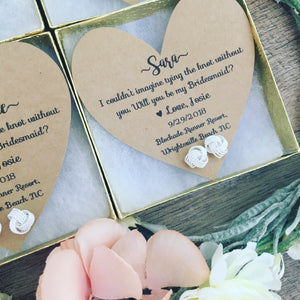 Silver Knot Bridesmaid Earrings & Heart Card
