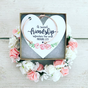 Best Friend Knot Bangle Floral Heart Card!