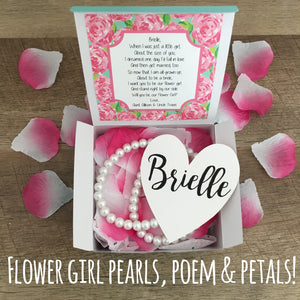 Flower Girl Pearl Necklace & Practice Flower Petals with gift box!