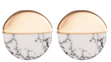 Hello Fall Marble & Gold circle studs FREE SHIPPING