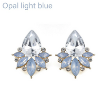 Opal Light Blue or Clear Crystal studs thank you gift!