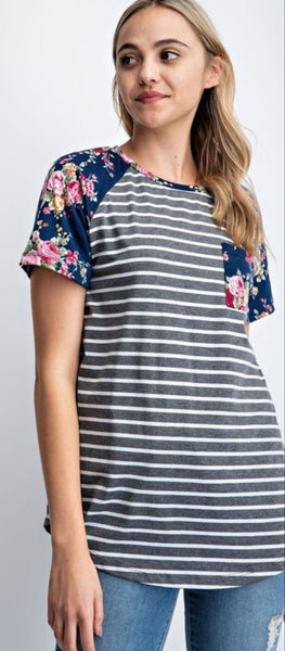 Navy Floral Stripe