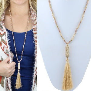 Rose Gold Druzy Long Tassel Necklace