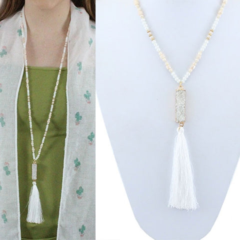 White Druzy Long Tassel Necklace