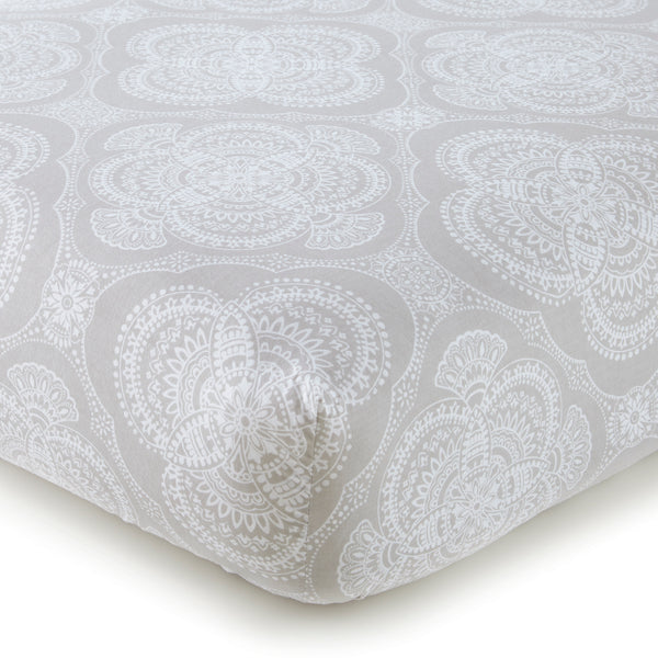 Willow Medallion Crib Fitted Sheet - Grey