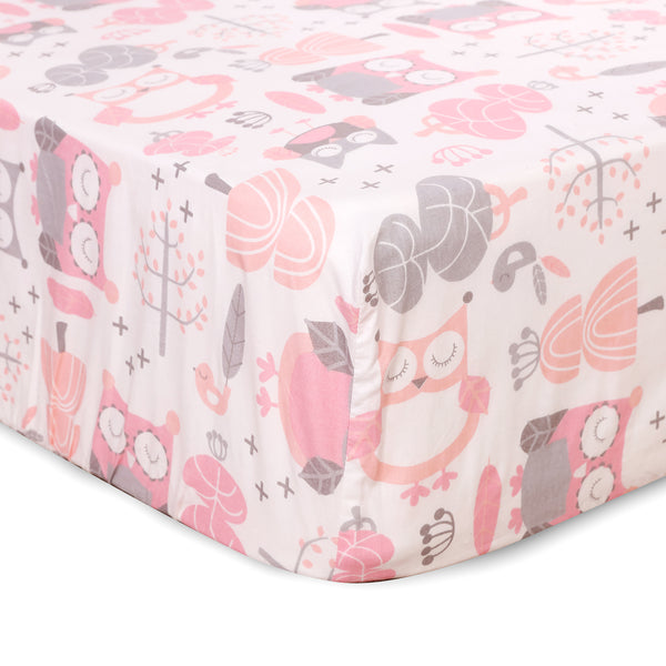Night Owl Crib Fitted Sheet - Pink
