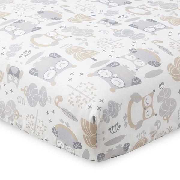 Night Owl Crib Fitted Sheet - Grey