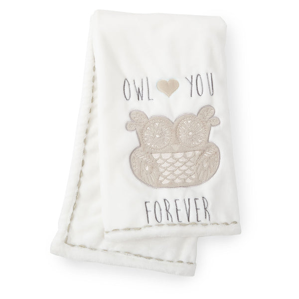 Night Owl Plush Blanket - Grey