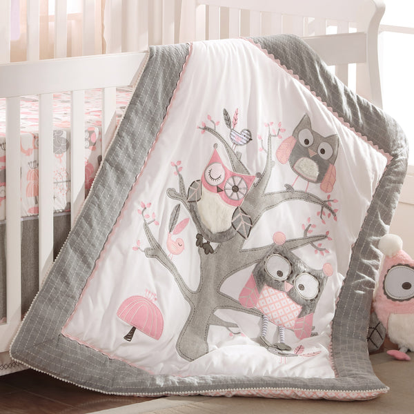 Levtex Baby Night Owl 5pc Bedding Set Pink