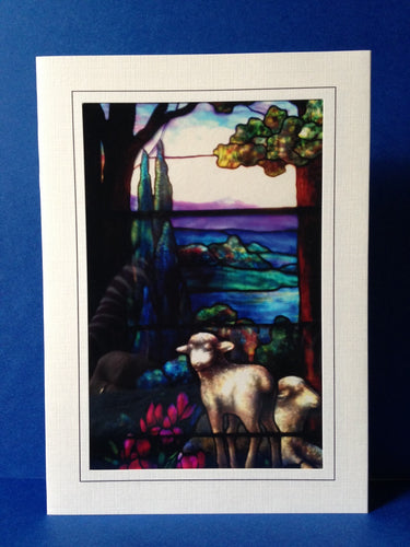 Stained Glass Greeting Card - Sheep