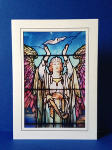 Stained Glass Greeting Card - Angel & Dove