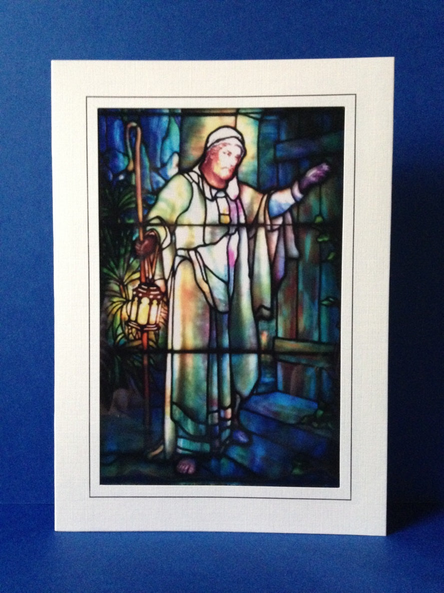 Stained Glass Greeting Card - Christ Knocking At The Door