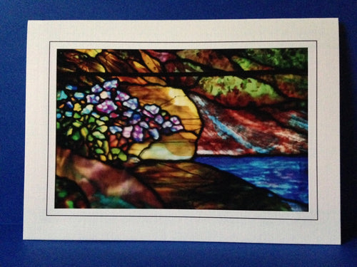 Stained Glass Greeting Card - Flowers By Stream