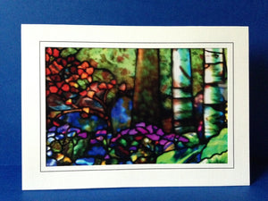 Stained Glass Greeting Card - Trees & Flowers