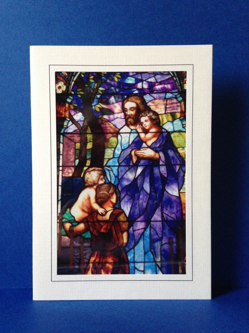 Stained Glass Greeting Card - Christ With Children