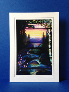 Stained Glass Greeting Card - Tree By Stream