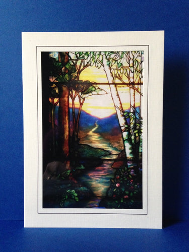 Stained Glass Greeting Card - Stream & Trees