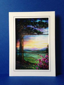 Stained Glass Greeting Card - Lone Tree & Flowers