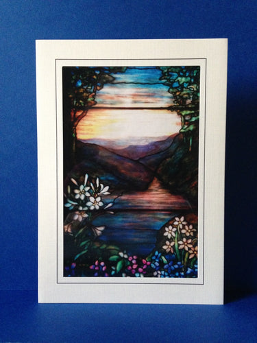 Stained Glass Greeting Card - River Framed By Hills & Flowers