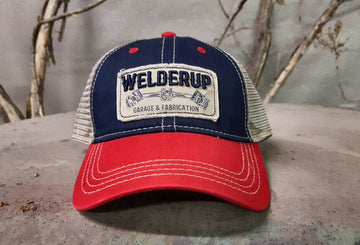 Welder Up Red/Blue/Tan Mesh Snap Back Hat